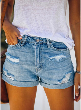 Solid Above Knee Casual Pocket Shirred Ripped Button Pants Shorts Denim & Jeans
