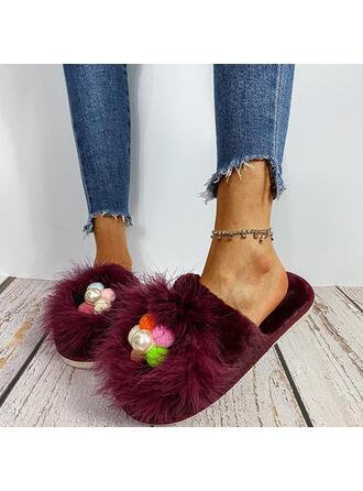 Femmes Suède Talon plat Chaussures plates bout rond avec Brodé Perle d'imitation Fausse Fourrure chaussures