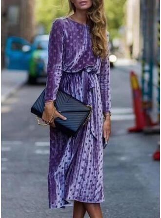 À Pois Manches Longues Fourreau Décontractée/Élégante Midi Robes