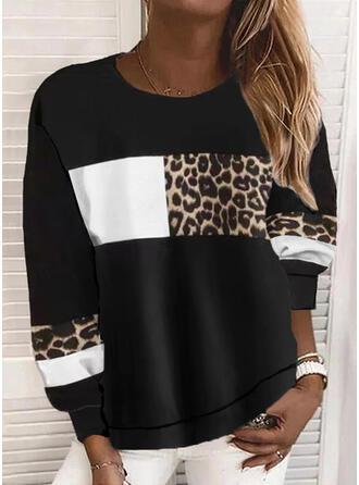 Color Block Leopard Round Neck Long Sleeves Sweatshirt