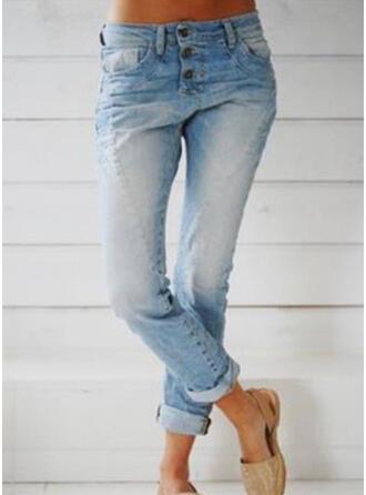 Les poches Froncé Longue Décontractée Longue Maigre Jeans