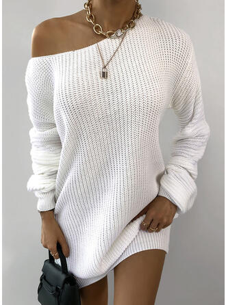 Solid Knit Long Sleeves Shift Above Knee Casual Sweater Dresses