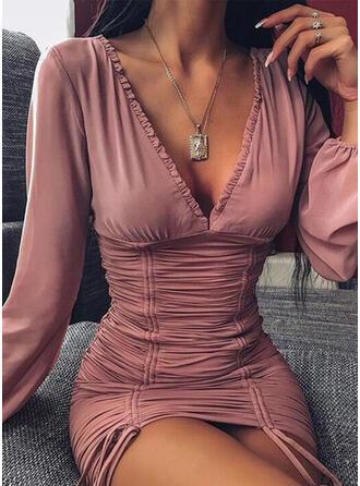 Couleur Unie Manches Longues Moulante Au-dessus Du Genou Petites Robes Noires/Sexy/Fête Robes
