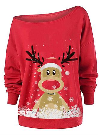 Motif Animal One Shoulder Manches longues Sweat de Noël
