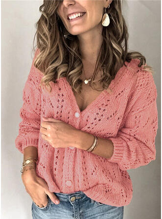 Polyester Manches longues Solid Cardigans