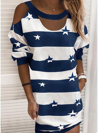Imprimée/Couleur De Bloc/À Rayures Manches Longues Droite Au-dessus Du Genou Décontractée T-shirt Robes