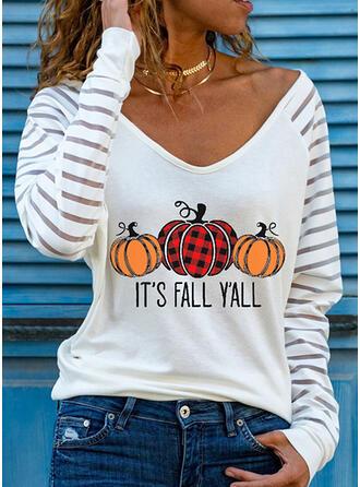 Halloween Plaid Print Letter V-Neck Long Sleeves T-shirts