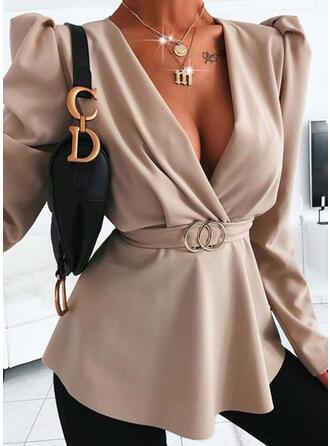 Solid V-Neck Long Sleeves Puff Sleeve Elegant Blouses