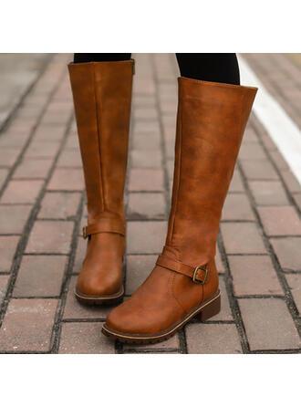 Femmes PU Talon bottier bout rond Bottes cavalières avec Boucle Zip Couleur unie chaussures