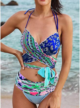 Print Halter V-Neck Casual Vacation Bikinis Swimsuits