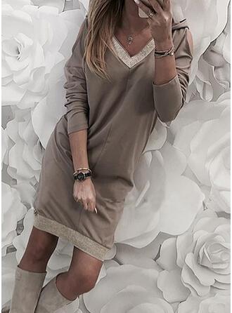 Paillettes/Couleur Unie Manches Longues Droite Au-dessus Du Genou Décontractée Tunique Robes
