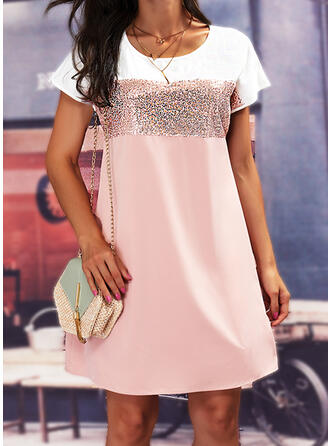 Print/Color Block Sequins Short Sleeves Shift Above Knee Casual Tunic Dresses