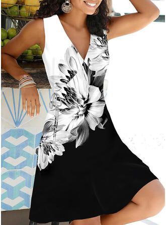 Print/Floral/Color Block Sleeveless Shift Above Knee Casual/Vacation Wrap Dresses