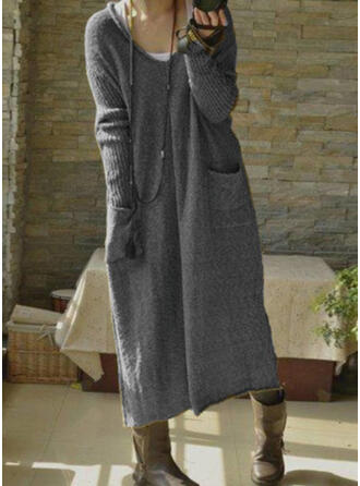 Couleur Unie Poches Col V Décontracté Long Robe Pull