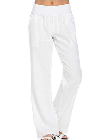 Les poches Froncé Longue Décontractée Élégante Couleur Unie Plaine Pantalon