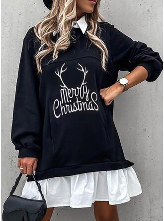 Imprimée Manches Longues Droite Au-dessus Du Genou Noël/Décontractée Robes