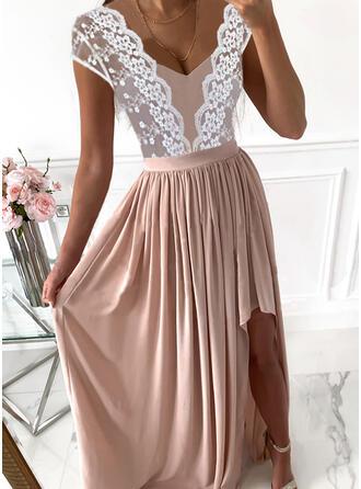 Color Block Lace Short Sleeves Cap Sleeve A-line Skater Party/Elegant Maxi Dresses
