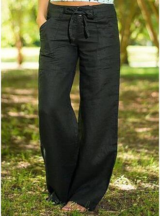 Les poches Bowknot Longue Boho Décontractée Couleur Unie Pantalon