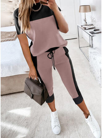 Color Block Casual Plus Size Tee & Pants Two-Piece Outfits Set