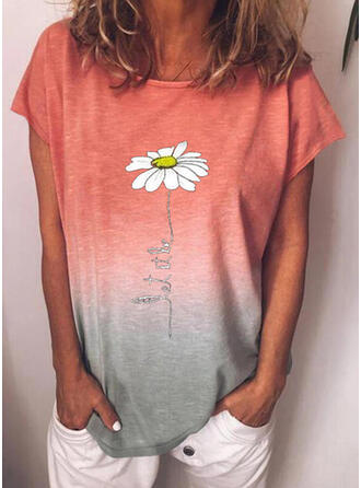 Floral Gradient Print Letter Round Neck Short Sleeves T-shirts