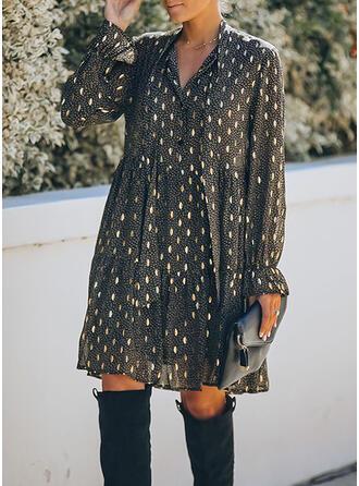 Imprimée Manches Longues Droite Au-dessus Du Genou Décontractée Tunique Robes