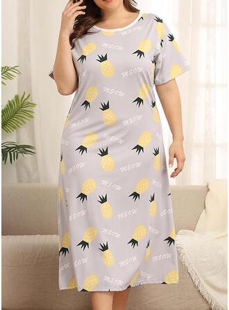 Col Rond Manches Courtes Floral Grande taille Attrayant La robe du soir