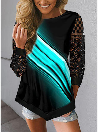Print Lace Round Neck 3/4 Sleeves T-shirts