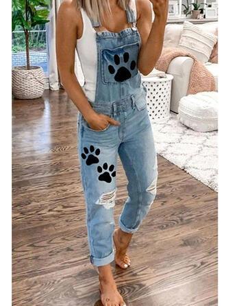 La copie Animale Les poches Grande taille Déchiré Longue Décontractée Couleur Unie Jeans Combinaisons et barboteuses