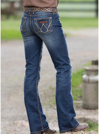 Broderie Froncé Grande taille Élégante Ancien Jeans