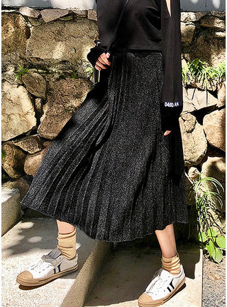 De laine Couleur unie Mi-Mollet Jupes plissées