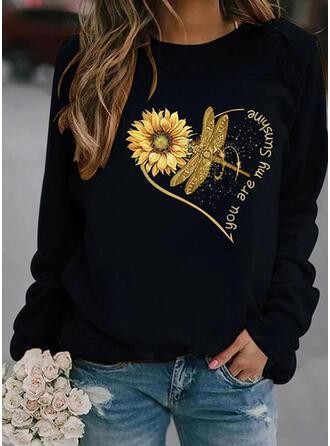 Animal Print Sunflower Print Letter Round Neck Long Sleeves Sweatshirt