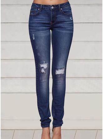 Grande taille Déchiré Longue Élégante Sexy Maigre Jeans
