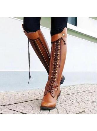 Femmes Similicuir Talon bas Bottes avec Rivet Zip chaussures