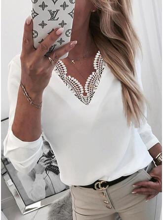 Solid Lace V-Neck 3/4 Sleeves Elegant Blouses