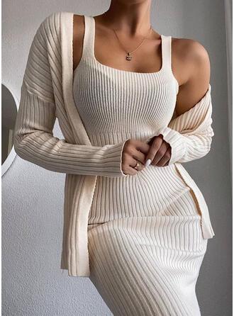 Couleur Unie Manches Longues Moulante Petites Robes Noires/Décontractée Midi Robes