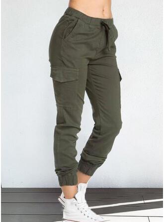 Couleur Unie Les poches Décontractée Ancien Pantalons de détente