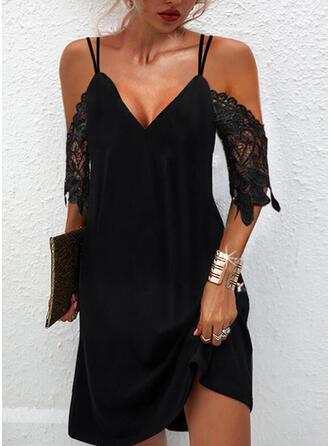 Solid Lace 1/2 Sleeves Cold Shoulder Sleeve Shift Above Knee Little Black/Elegant Dresses