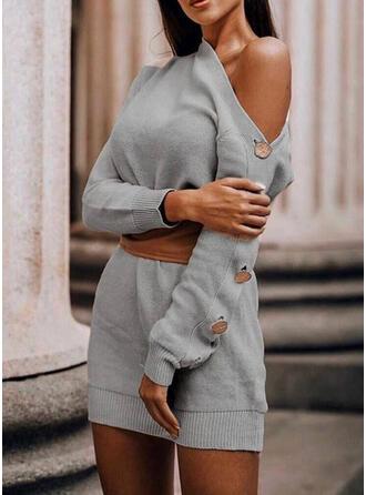 Couleur Unie Manches Longues Moulante Au-dessus Du Genou Petites Robes Noires/Décontractée Pull Robes