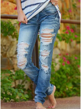 Solid Cotton Long Casual Vintage Plus Size Pocket Shirred Ripped Pants Denim & Jeans