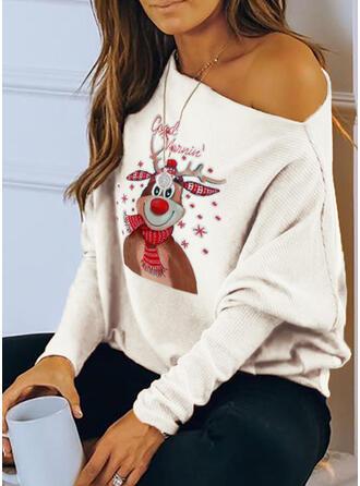 Imprimé Animal Figure Une Épaule Manches Longues Décontractée Noël Tricotage Blouses