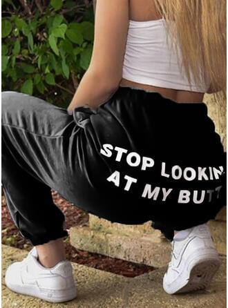 Imprimé Cordon Longue Décontractée Sportif Pantalon