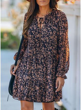Imprimée/Fleurie Manches Longues Droite Au-dessus Du Genou Décontractée Tunique Robes