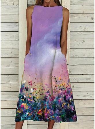 Print Sleeveless Shift Casual Midi Dresses