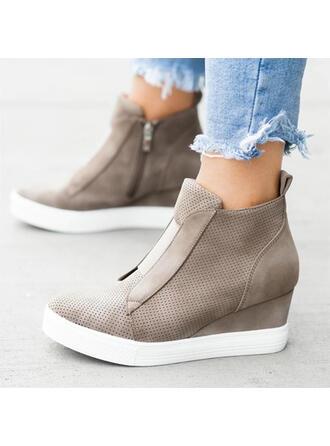 Femmes Suède Talon compensé Plateforme Compensée avec Zip chaussures