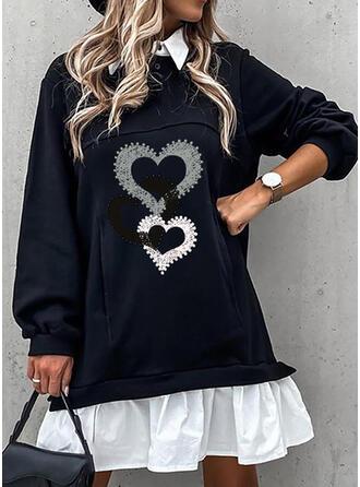 Imprimée/Perlée/Cœur Manches Longues Droite Au-dessus Du Genou Décontractée Tunique Robes
