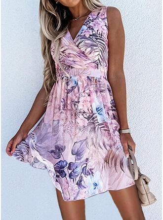 Print/Floral Sleeveless A-line Above Knee Elegant Skater Dresses