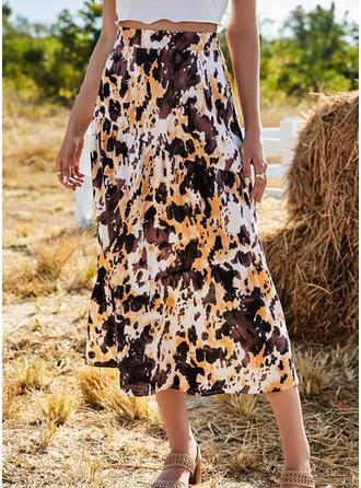 Chiffon Print Mid-Calf A-Line Skirts