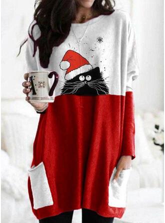 Animal Print Pockets Round Neck Long Sleeves Christmas Sweatshirt