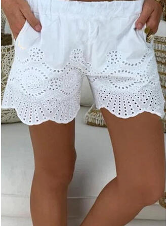 Solid Above Knee Casual Pants Shorts