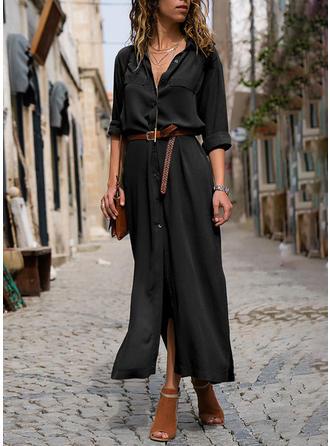 Couleur Unie Manches Longues Trapèze Chemise Petites Robes Noires Maxi Robes